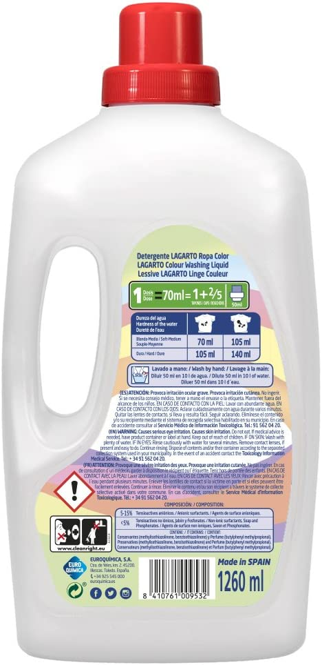 Lagarto Botella Detergente Lavadora Liquido - Ropa Color - 18 ...