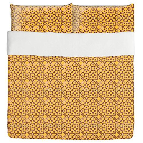 Islamic Stars Duvet Bed Set 3 Piece Set Duvet Cover - 2 Pillow Shams - Luxury Microfiber, Soft, Breathable by uneekee