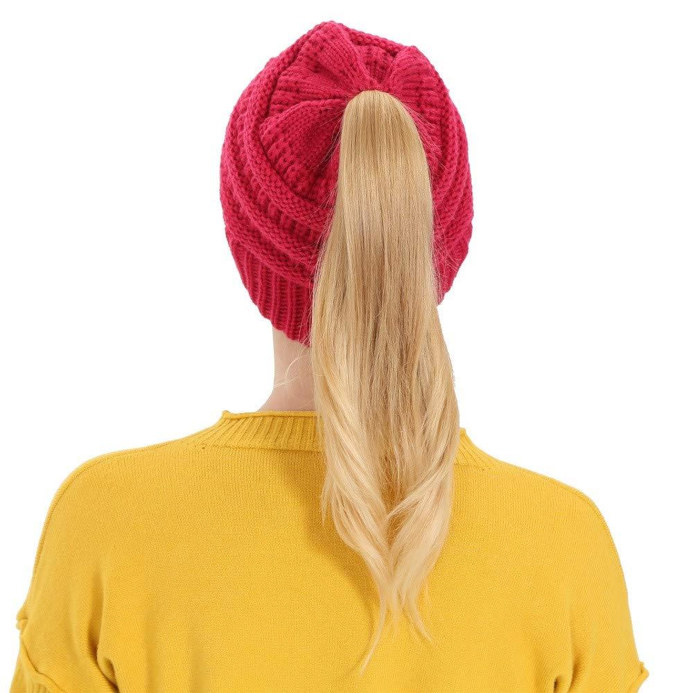 a583396a7dc Ximandi Womens Beanie Ponytail Messy Bun BeanieTail Multi Color ...