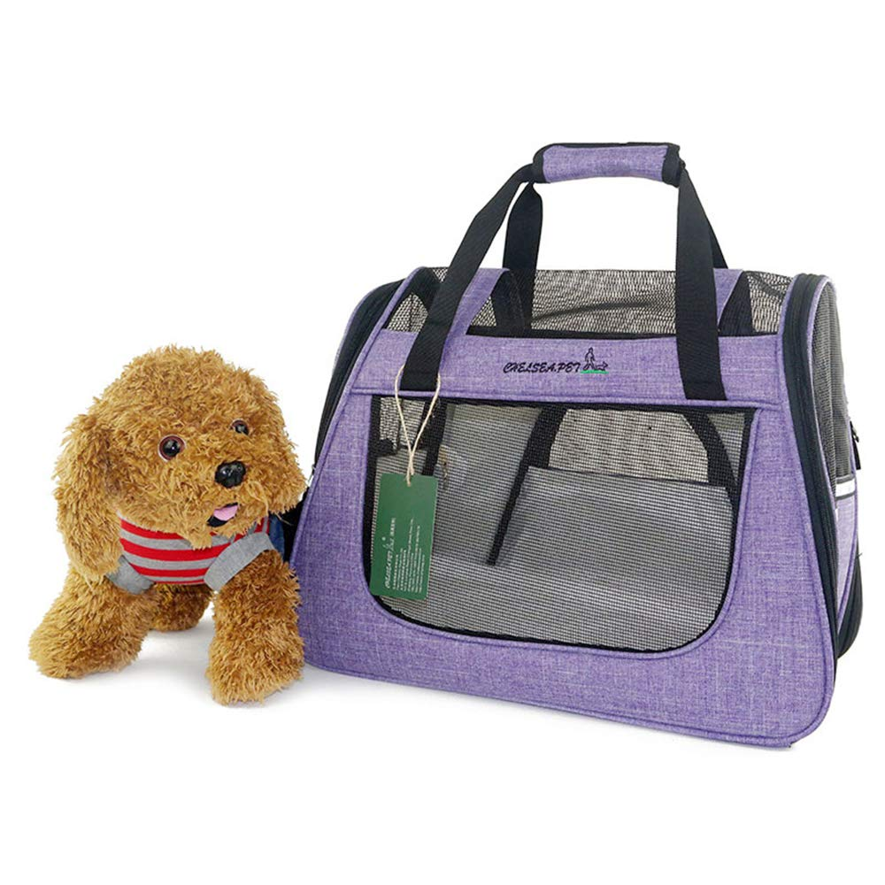 Pet Carrier Soft Dog & Cat Small Carrier, Foldable Pet Travel Carrier 45x25x34cm (Lavender)