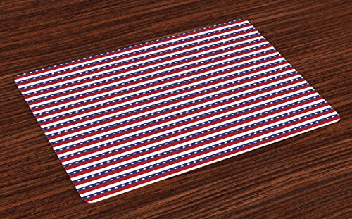 (Ambesonne 4th of July Place Mats Set of 4, Stars and Stripes Pattern American Flag Inspired Patriotic Theme, Washable Fabric Placemats for Dining Room Kitchen Table Decor, Blue)