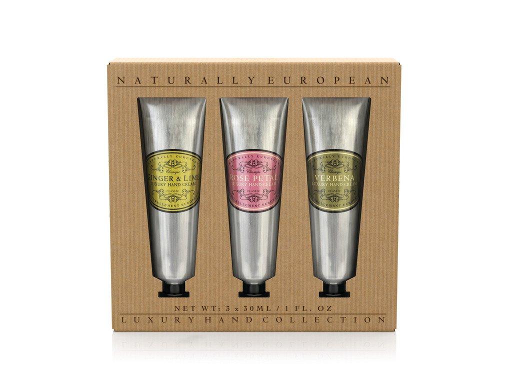 Naturally European Luxury Rose, Verbena, Ginger & Lime Hand Cream Gift Set 3 X 30ml 91810