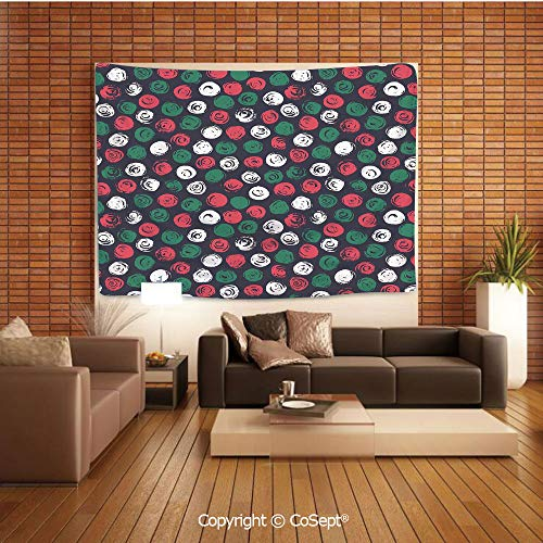 PUTIEN Polyester Fabric Tapestry,Abstract Flowers Round Brush Stroke Effect Floral Hand Drawn Style Decorative,Tapestry Art Print Tapestry for Room(59.05