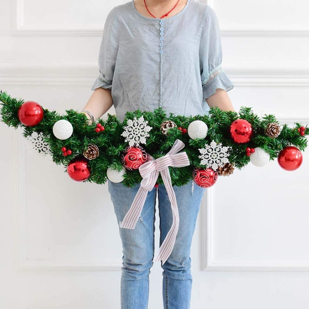 Yjmgrowing 0.9M / 1.5M Decoraciones de guirnaldas navideñas Verdes con Bayas Conos de Pino Arcos Guirnalda Artificial de PVC para Decoraciones de árbol de Navidad de Escalera de Chimenea,A,150CM: Amazon.es: Hogar