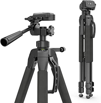 Amazon Com Hama Action 165 3d Camera Tripod Height 61 165 Cm 3 Way Ball Head Rubber Feet Spikes Load Bearing Capacity Up To 4kg Light Weight 1 320 G Incl Carrying Bag