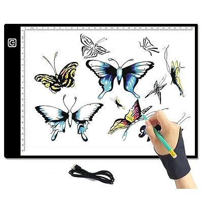 ACC Tablero de Dibujo LED, A4 Portátil Copia Seguimiento Seguimiento Caja de luz USB Luz con Brillo Ajustable para Dibujo, Animación, Dibujo: Deportes y aire libre