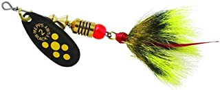 product image for Mepps Black Fury in-Line Spinner, 1/6 oz, Dressed Treble Hook, Yellow Dot Blade with Gray & Yellow Tail