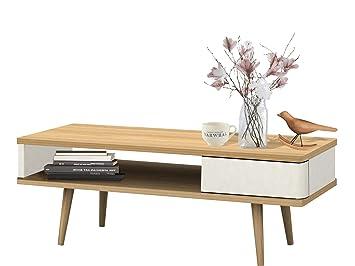 Loft24 Anne Couchtisch Mit Schublade Wohnzimmertisch Weiß Kaffeetisch  Sofatisch Beistelltisch Retro Skandinavisches Design Holz Eichefarben
