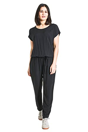 0764daf021bf Ladies Jumpsuit with Short Sleeve - Black Loose Fit All-in-one Playsuit  PEONYBLK  Amazon.co.uk  Clothing