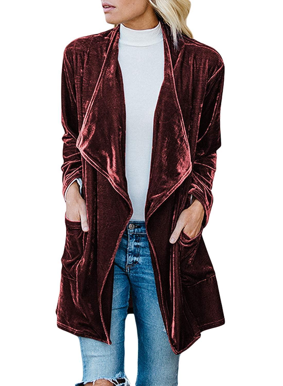 Lovezesent Womens Drape Velvet Jacket Open Front Cardigan Coat with Pockets ZST85253
