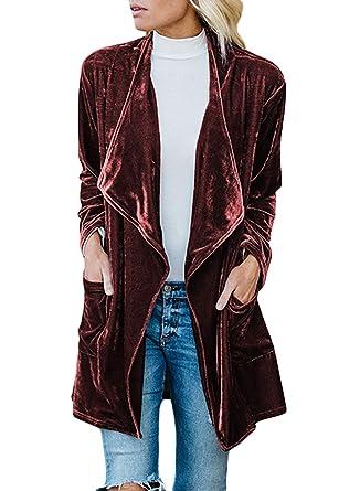 2a060ce9e9ff0 Lovezesent Womens Drape Collar Velvet Jactets Ladies Long Sleeve Open Front  Cardigan Outwear Coat Red Medium