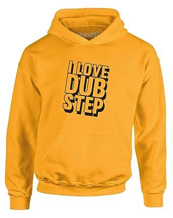 I Love Dub Step, Gedruckt Kinder Kapuzenpullover - Gold/Schwarz 12-13 Jahre