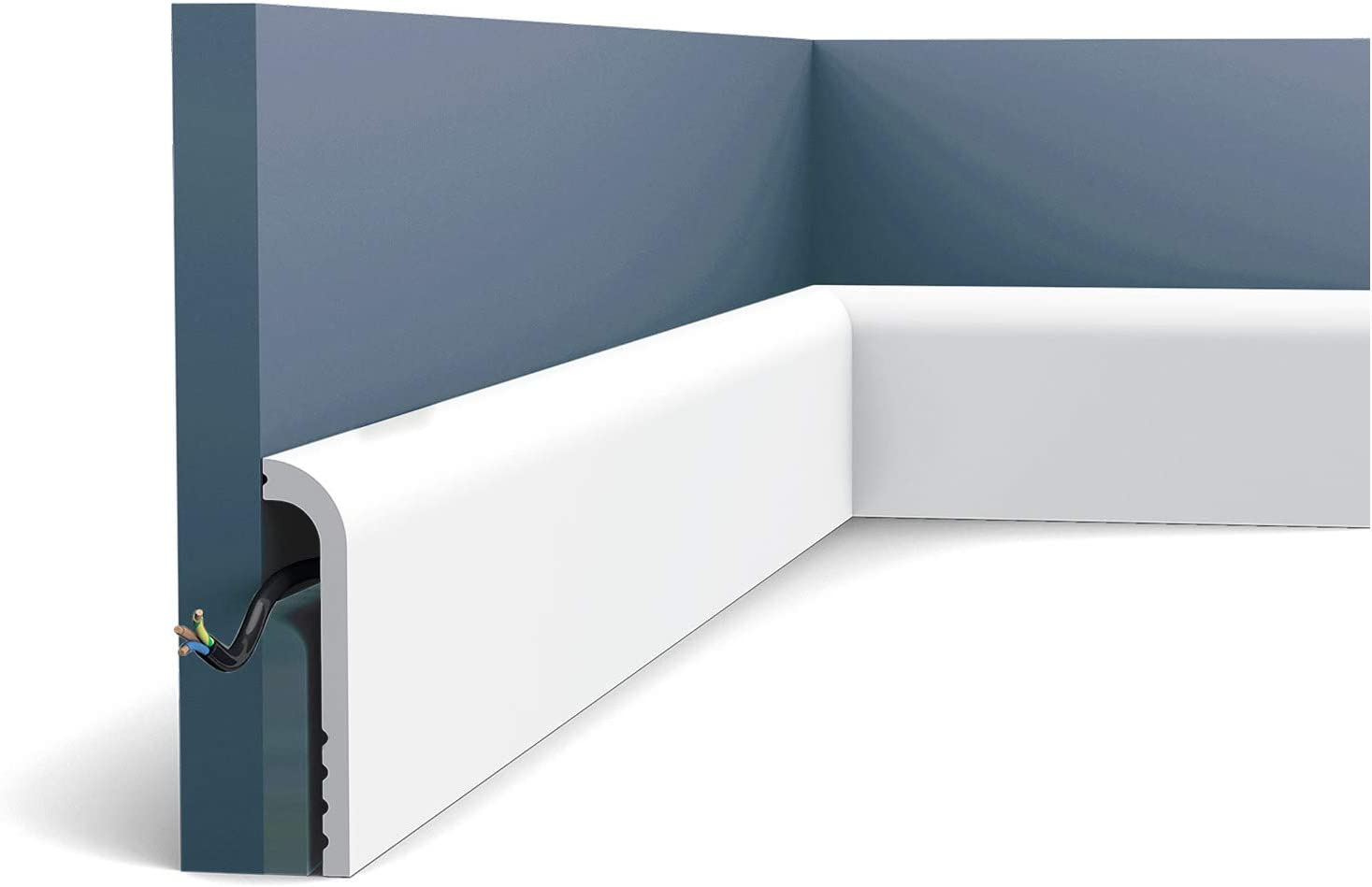 Skirting Orac Decor SX185 LUXXUS Cascade Cover skirting Decorative Moulding Modern Look White 2m