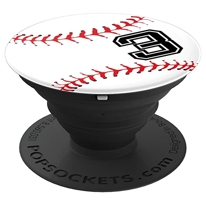 Baseball Player #3 Back No 3 Baseball Pit Boy Girl Gift - PopSockets Grip and Stand for Phones and Tablets