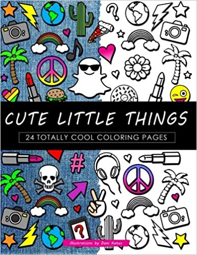 amazon com cute little things coloring book 24 page coloring book