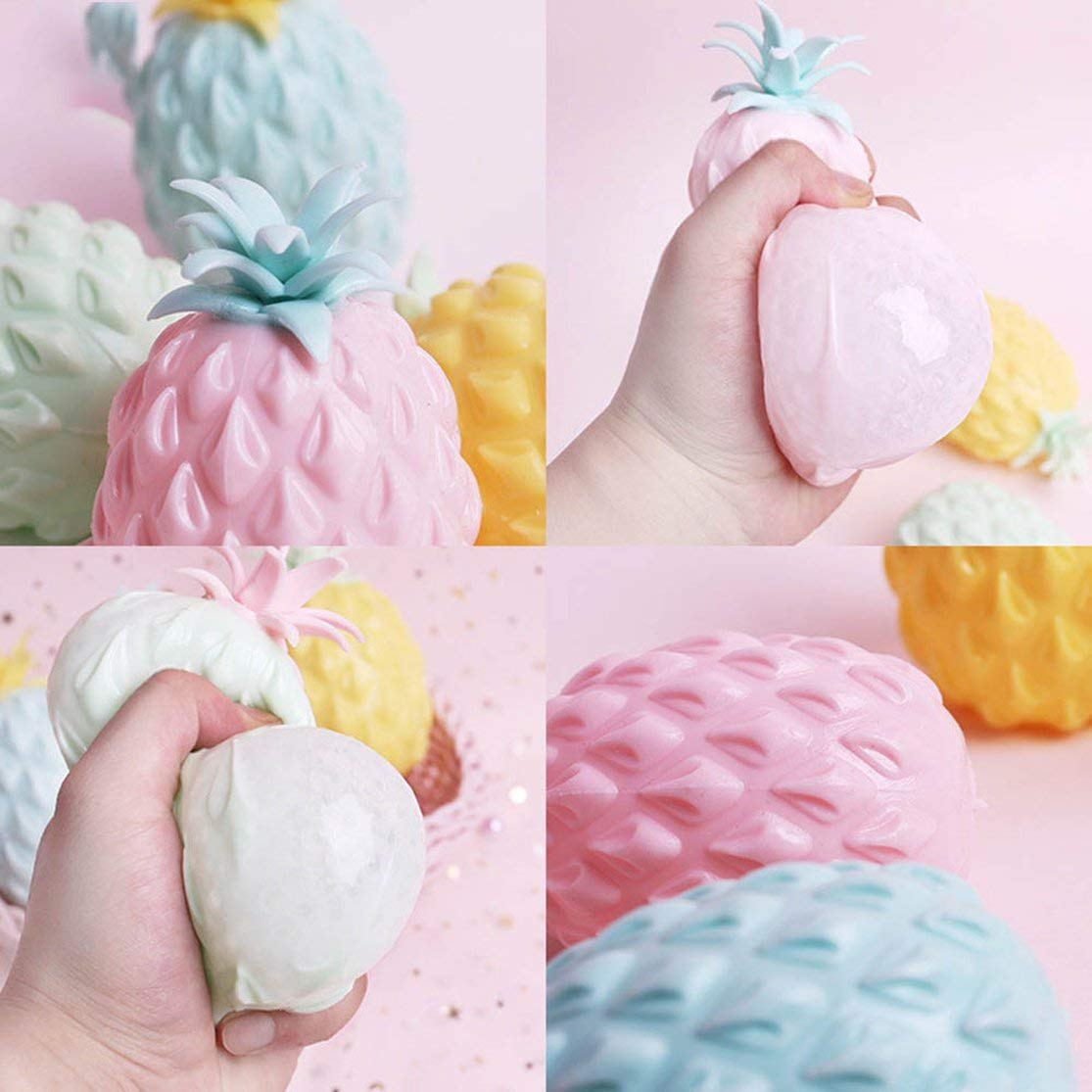 LouiseEvel215 Mochi Squishies Stress Relief Toys Pi/ña Squichies Toys Dise/ño Lindo Soft Squishies Fruit Stress Juguetes de descompresi/ón