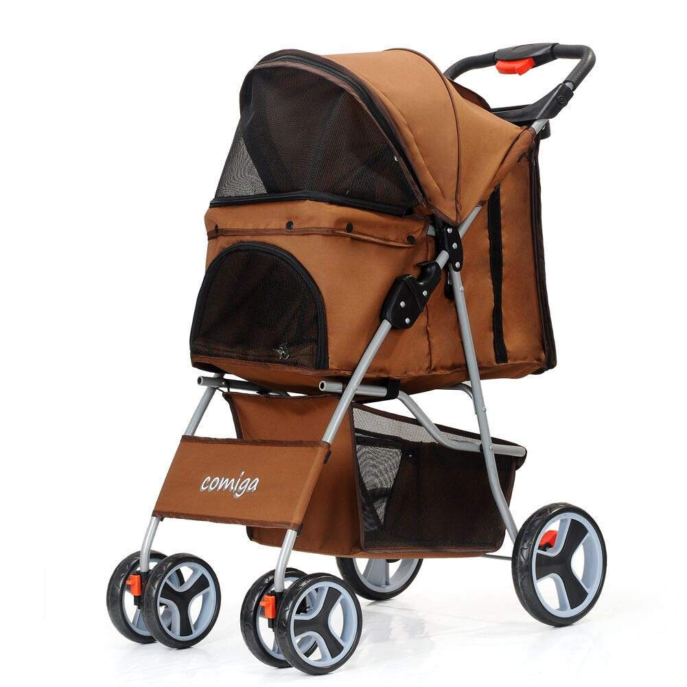 comiga Pet Stroller for Dog & Cat, Four-Wheel Easy Foldable Travel Stroller for Puppy, Kitten, Waterproof Pet Carrier with Storage Basket, Up to 33.06 lbs, Coffee