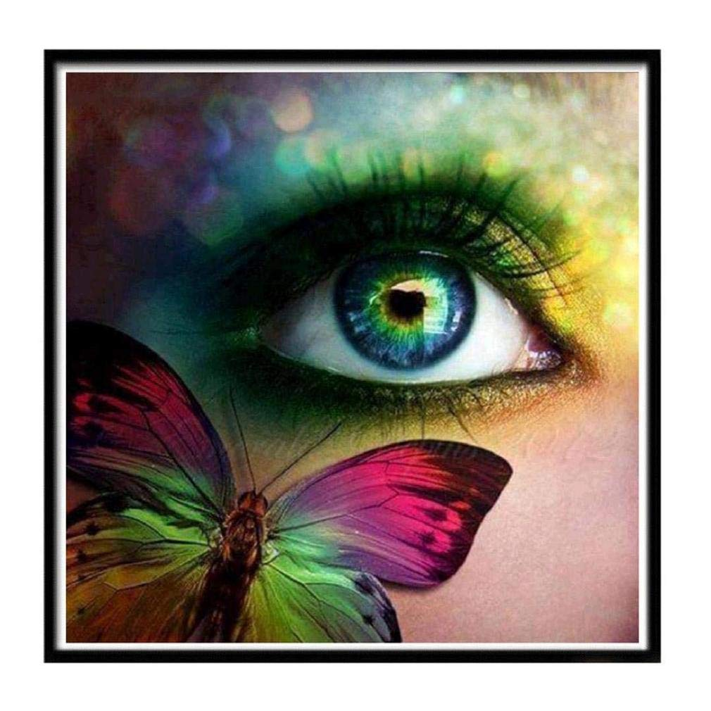 Toosvan DIY 5D Diamond Painting, Cross Stitch Kit Crystals Butterfly Eye 5D Diamond Painting Embroidery Home Decor Craft (Multicolor)