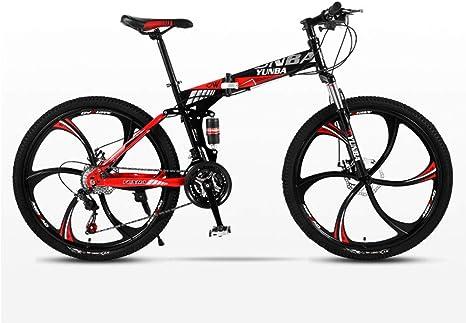 DSAQAO Folding Mountain 26 Pulgadas Bicicleta,21 24 27 Velocidad 6 Spoke Bicicleta Suspensión Completa MTB Bicicletas para Adultos Adolescentes Estudiante: Amazon.es: Deportes y aire libre
