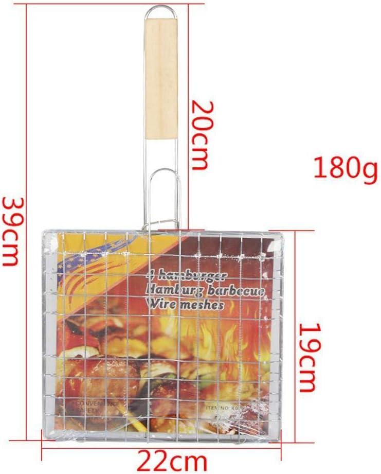 Grillkorb Tragbarer Grill Grillkorb Fisch Barbecue Burger Gem/üse Wurst Essen Fleisch Flip Rack Halter Mit Holzgriff