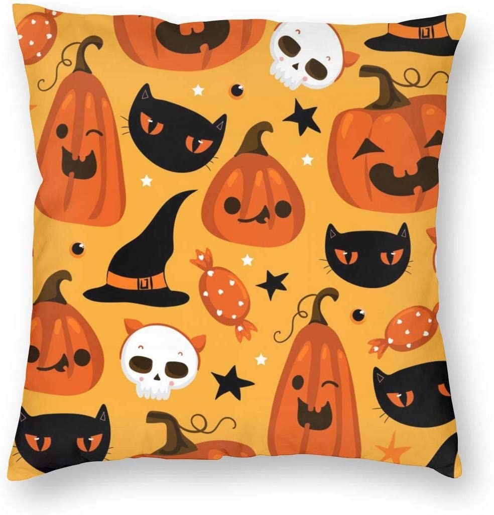 Halloween Cute Pumpkins Decorative Pillow Covers 18'' X 18'' Holiday Decor Throw Pillow Case for Living Room Soft Solid Cushion Case for Sofa Bedroom
