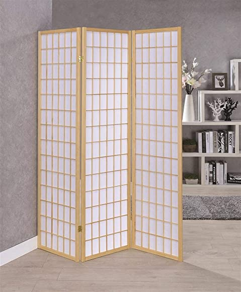 3-Panel Folding Screen Natural and White