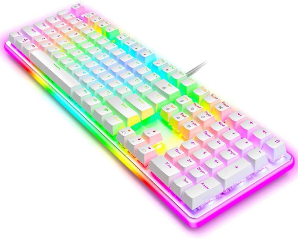 Dandan Mechanical Touch Keyboard Multi-Color Rainbow LED Backlight Wired Keyboard Desktop Computer Keyboard,Black