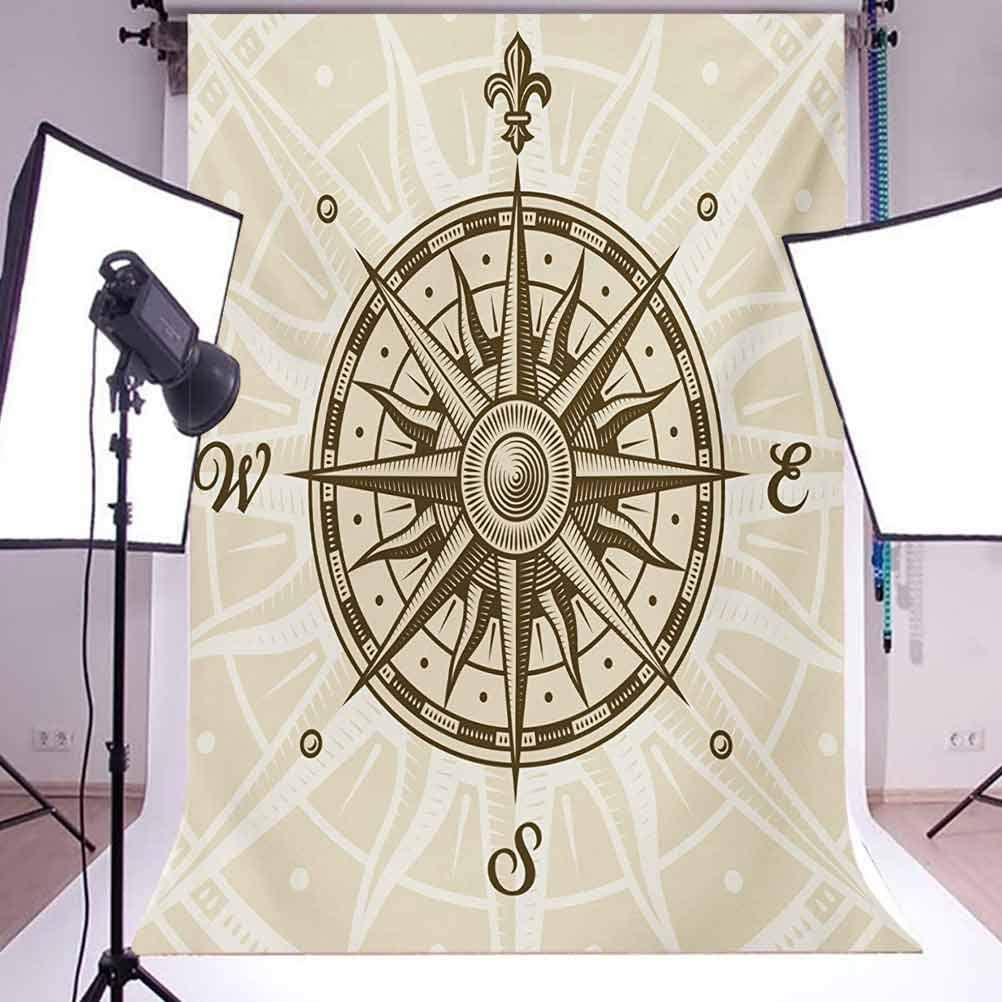 Compass 10x12 FT Backdrop Photographers,Sun Motif Backdrop with Windrose Directions East West North South Navigation Background for Baby Birthday Party Wedding Vinyl Studio Props Photography