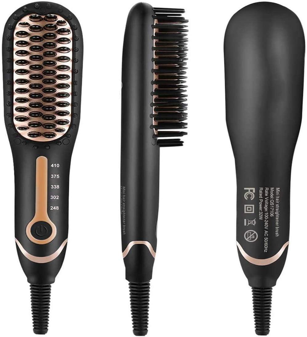 Hanchun Plancha de pelo for barba, cepillo, plancha de pelo, cepillo for hombres, plancha de barba rápida, peine de temperatura ajustable, alisador de pelo, barba for modelado flexible