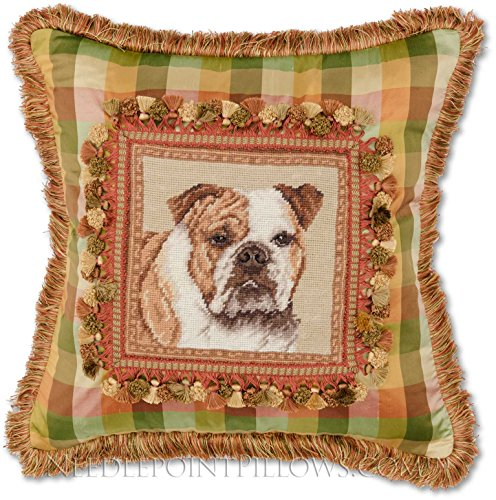 Limited-Edition, Custom-Made, Handmade Decorative Silk English Bulldog Needlepoint Dog Accent Pillow. 20