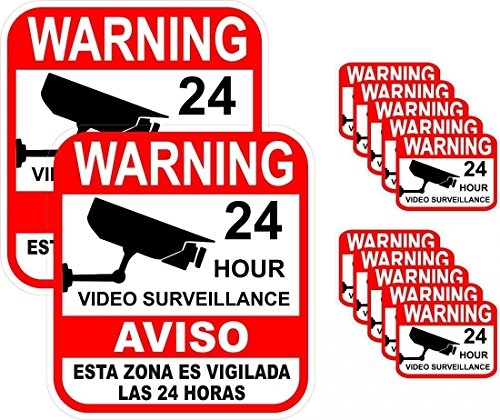 12-Pcs Paramount Popular Warning Sticker Decal Signs Being Watched Camera In Use Surveillance 2-Large 10-Small (New Owner Sticker compare prices)