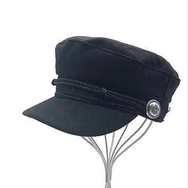 Women Men Octagonal Cap Wool Button Baseball Caps Visor Hat Caps Black Casual Berets