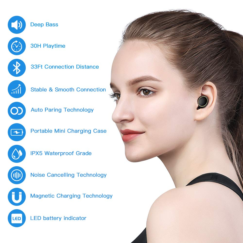 JOYROOM Truly Wireless Earbuds, 30H Playtime TWS Stereo Mini Wireless Bluetooth Headphones with Microphone, IPX5 Sweatproof, Easy Pair Earbuds with Portable Charging Case (Black)