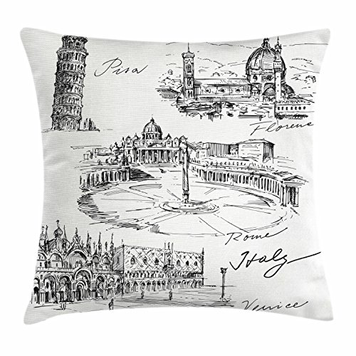 Ambesonne Sketchy Throw Pillow Cushion Cover, Travel The World Themed Historical Italian Landmarks Venice Rome Florence Pisa, Decorative Square Accent Pillow Case, 16 X 16 Inches, Black White