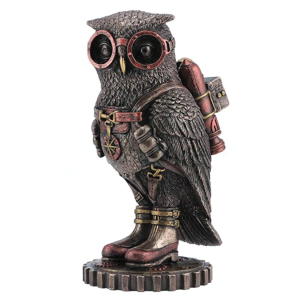 wu Steampunk Owl with Jetpack Statue Sculpture on Gears