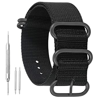 Cinturino cinghietta strap per orologio diver in tessuto nylon Nato G10 nero