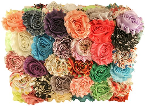Chiffon Fabric Flowers for Crafts - Bulk Fabric Flowers Pack of 50 Assorted Colors and Prints