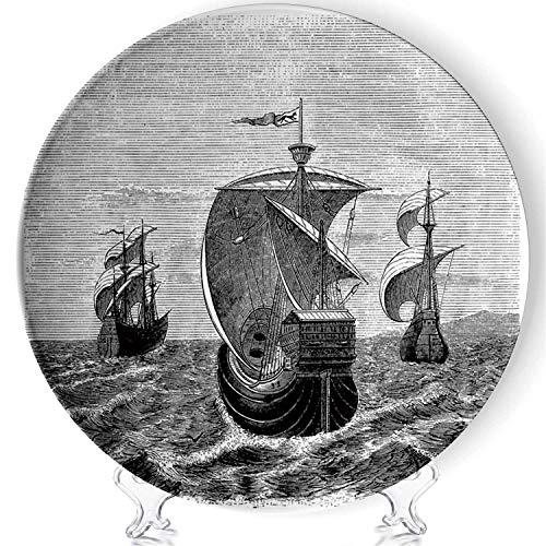 YOLIYANA Nina Porcelain Plates Ceramic Decorative Plates,Pinta and Santa Maria Christopher Columbus Ships,8 Inch