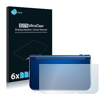 savvies Protector Pantalla Compatible con Nintendo New 3DS XL (Carcasa) (6 Unidades) Pelicula Ultra Transparente