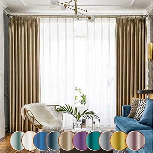 Leadtimes Luxurious Silk Bedroom Curtains Extra Wide Grommet Privacy Blackout Drapery Panel