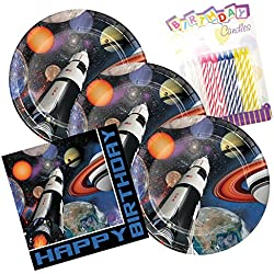 Space Blast Happy Birthday Theme Plates and Napkins Serves 16 With Birthday Candles