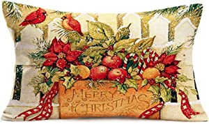 Hopyeer Cotton Linen Pillow Covers Vintage MerryChristmas Winter Red Cardinal Birds Fence Apples Fruit with Leaves Mistletoe Red Ribbon Throw Pillow Case Decor Home Office 12