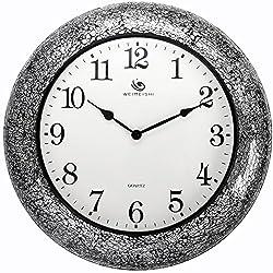 Yomioak Modern Silent Non-Ticking Quartz Wall Clock Metal Mosaic Quartz Wall Clock 20 Inch Black