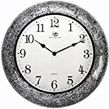 Jedfild The living room wall clock stylish personalized creative metal modern mute mosaic clock, Black