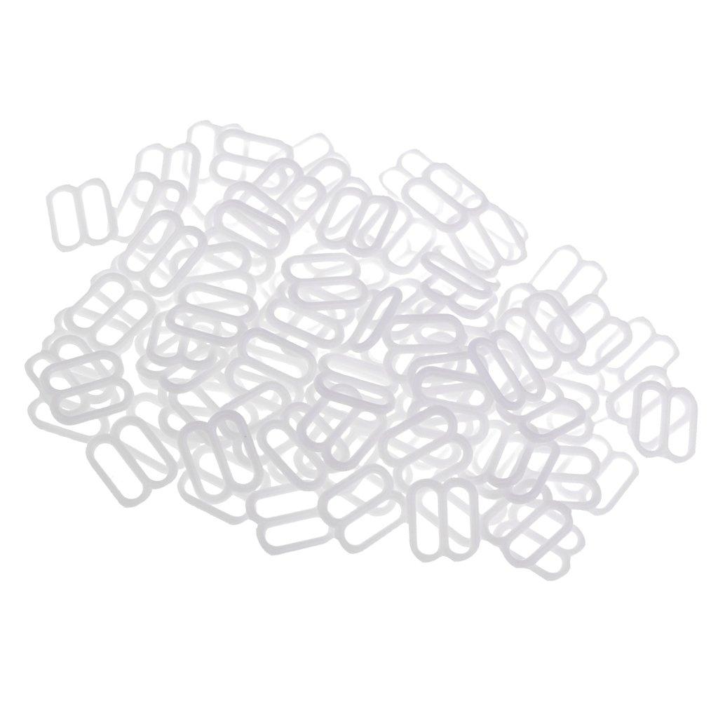 White MagiDeal 100 Pieces Nylon Lingerie Bra Strap Sliders Adjuster Clips for Corset Garter Bikini 10mm