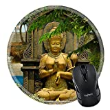 MSD Mousepad Round Mouse Pad/Mat 34431458 lle Gold female figure statue Taken at Ken Dedes Monument Malang east Java Indonesia