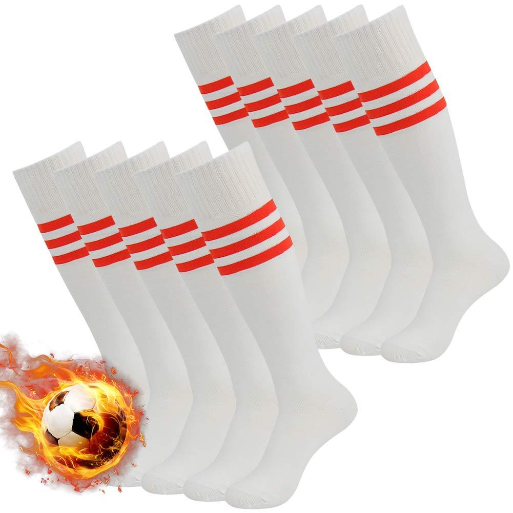 3street Triple Stripe Tube Sock - 01#White+red stripe, Size fit 7-13 by Three street