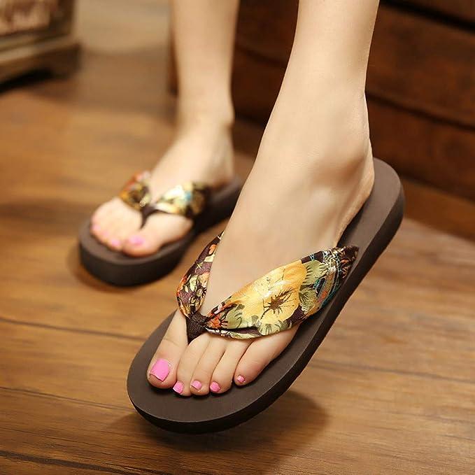 LILICAT✈✈ Zapatillas de Playa Bohemias Flip-Flop de Fondo Plano para Dama de la Moda Zapatillas de Deporte Los Zapatos Sandalias Zapatos de Playa Zapatos ...