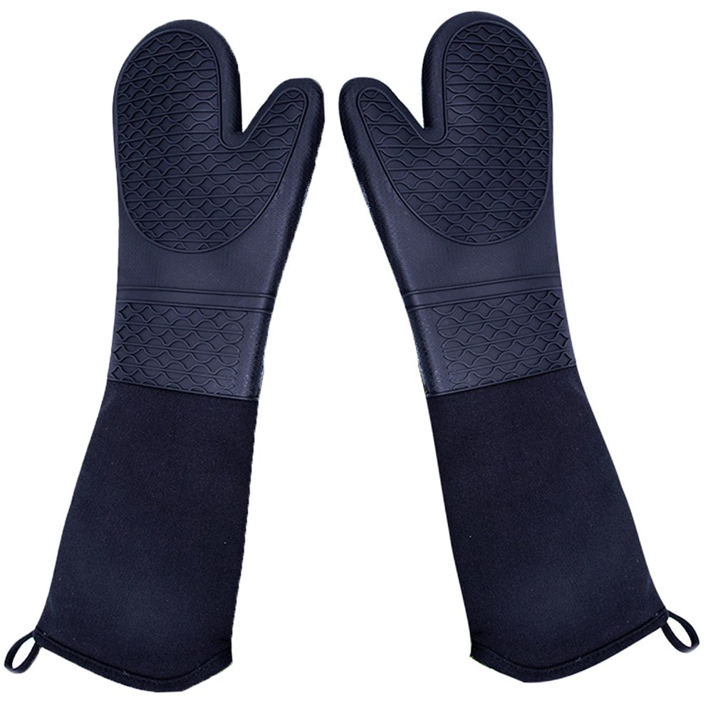 DoMii Extra Long Silicone Oven Mitts Heavy Duty Commercial Grade Oven Mitts Heat Resistant BBQ Gloves with Quilted Cotton Lining 2 Pack by DoMii