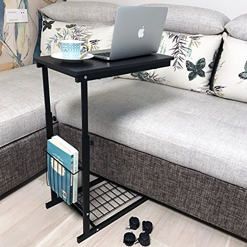 micoe Height Adjustable with wheels Sofa side table slide under adjustable Console table with storage Black for Entryway Hallway (Desk Bedside)